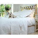 White Toile Quilted Bedspread