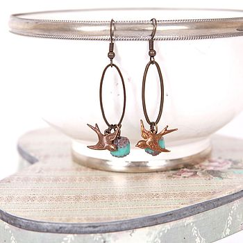 Vintage Style Bird And Oval Ring Earrings
