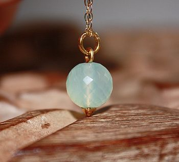 Faceted Chalcedony Drop Necklace