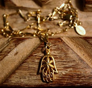 Gold Flower Hamsa Necklace