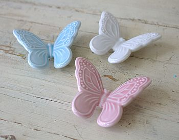 Blue , Cream and Pink Butterfly Magnets