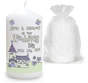 Personalised Church Wedding Candle - lighting