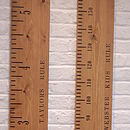 Personalised Kids Rule Wooden Height Chart in Mid Oak (Imperial & Metric shown)