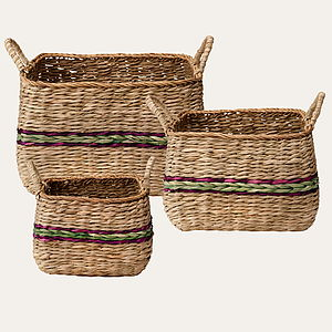 Set Of Three Woven Storage Baskets - bedroom