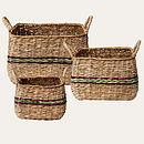Set Of Three Woven Storage Baskets