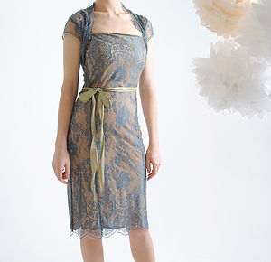 Lace Occasion Dress With Forties Neckline In Blue Pearl