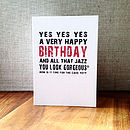 'Very Happy Birthday And All That Jazz' Birthday Card