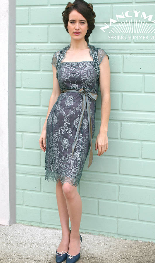 b50461f20f4a5 lace occasion dress with forties neckline in reef teal by nancy mac ...