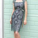 Lace Occasion Dress With Forties Neckline In Reef Teal