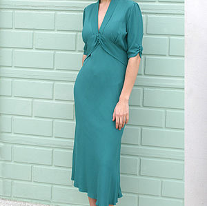 Teal Sable Crepe Maxi Dress