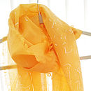 Bright Orange Wave Print Wool Scarf