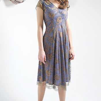 Special Occasion Lace Dress In Bronze And Purple
