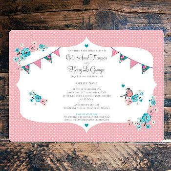 Vintage Tea Party - Wedding Invitation front