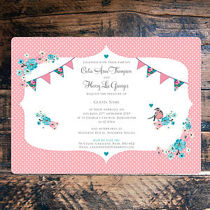 Vintage Style Tea Party Wedding Invitation