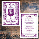 Beautiful Birdcage Wedding Invitation -Front and Back