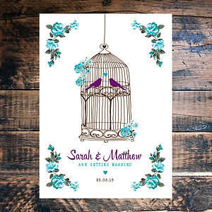 Birdcage Florals Wedding Invitation - wedding stationery