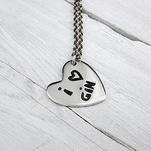 'I Love Gin' Heart Chain Necklace