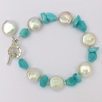 Fresh Water Coin Pearl And Amazonite Bracelet