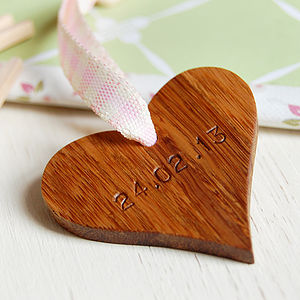 Personalised New Baby Wooden Heart Keepsake - keepsakes
