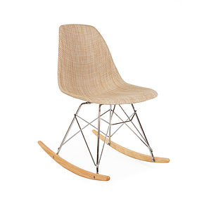 Modern Rocking Chair, Organic Coconut Basket Weave Seat - on trend: tropical