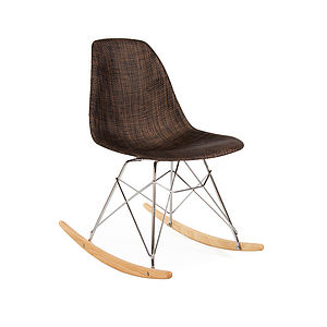 Modern Rocking Chair, Natural Weave, Retro Modern