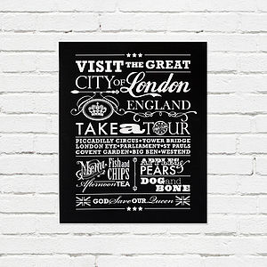 'Visit London' Vintage Style Print - frequent traveller
