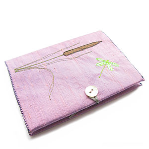 Damselfly Freeehand Embroidered Notebook - stationery & desk accessories