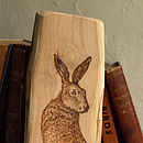 March Hare Hand Engraved On Natural Wood