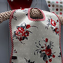 Vintage Inspired Floral Scarlett Oilcloth Bib