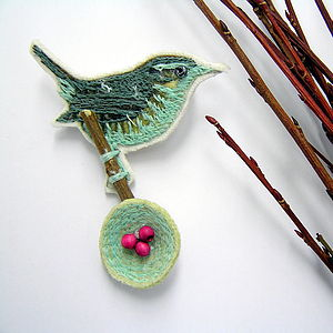 Embroidered Wren With Eggs Brooch Pin