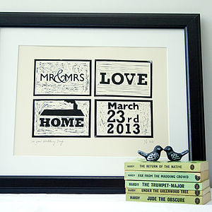 Personalised Date, Lino Cut - prints for christmas