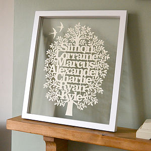 Large Framed Family Tree Papercut - home accessories