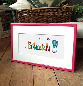 Boy's Illustrated Framed Baby Name - children's room