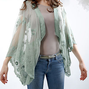Reef Embroidered Lace Shrug