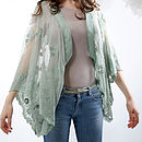 Thumb embroidered lace shrug reef