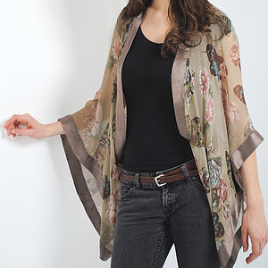 Taupe Butterfly Georgette Silk Shrug - jackets & coats