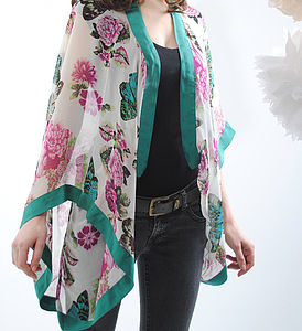 Ivory Butterfly Georgette Silk Shrug - birthday gifts for her