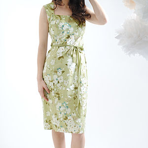 Green Candy Floral Silk Cotton Blanche Dress