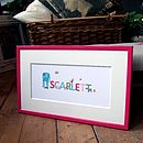 Girl's Illustrated Framed Baby Name