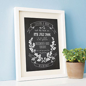 Personalised Wedding Chalkboard Print - posters & prints