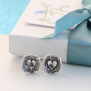Rockpool Silver Heart Stud Earrings