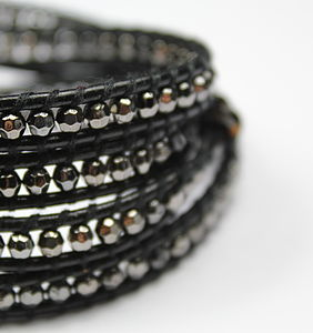 Leather Wrap Charcoal Bracelet - women's jewellery sale