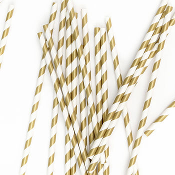 Gold Striped Paper Straws