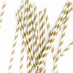 Gold Striped Paper Straws - baby shower gifts & ideas