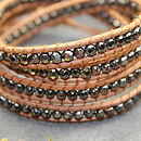 Leather Wrap Natural And Pewter Bracelet