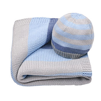 Baby Boy's Stripe Blanket And Hat Gift Set