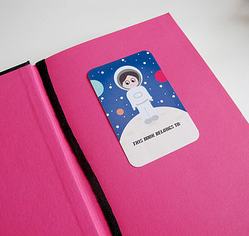 Set Of Six Outer Space Book Plate Stickers