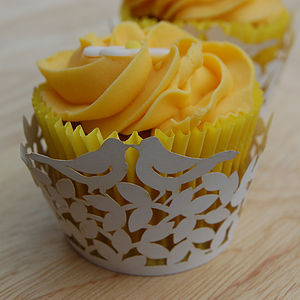 Pack Of Eight Love Bird Cupcake Wrappers - cupcake cases