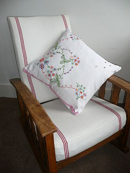 Vintage Springtime Embroidered Cushion