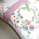 Vintage Springtime Embroidered Cushion